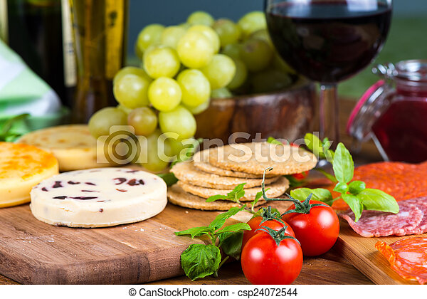 soft cheese with fruits and crackers - csp24072544