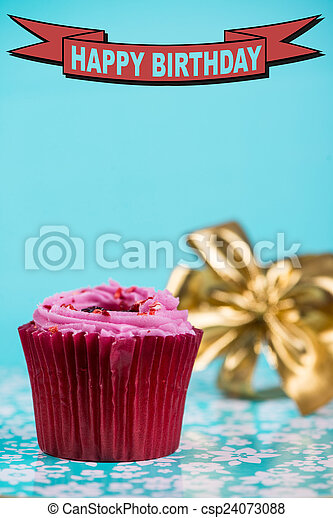 birthday card with red cup cake and golden ribbon