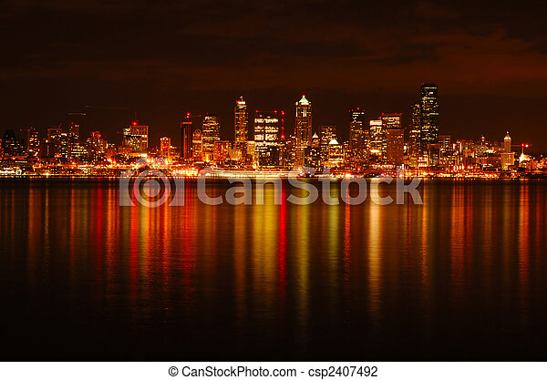 Seattle Skyline Reflected - csp2407492