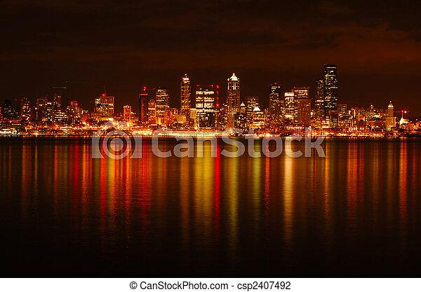 Seattle Skyline Reflected - csp2407492