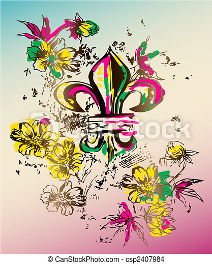 Royalty symbol with flores graphic - csp2407984