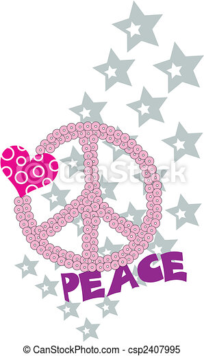 love and peace fancy graphic - csp2407995