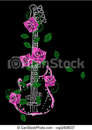 Rock Guitar With Rose Illustration - csp2408037