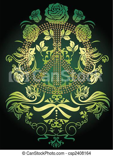 peaceful fancy flower logo emblem - csp2408164