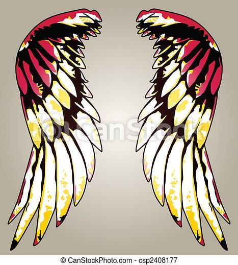 fancy eagle wing portrait illustration - csp2408177
