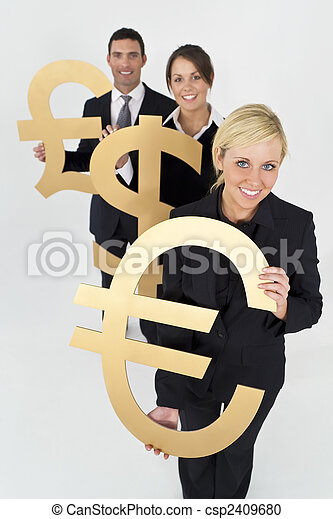 A team of three young executives, one man and two women, holding currency symbols and looking happy.