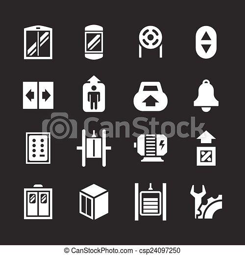 vecteur clipart de ensemble ic nes ascenseur ascenseur isol noir csp24097250 recherchez. Black Bedroom Furniture Sets. Home Design Ideas