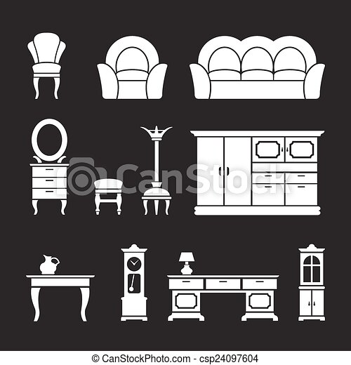 Set icons of retro furniture and home accessories - csp24097604