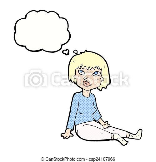 Woman Cartoon Drawing Cartoon Woman Sitting on Floor