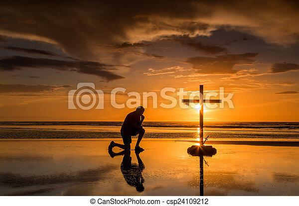 Prayful Cross Sunset - csp24109212