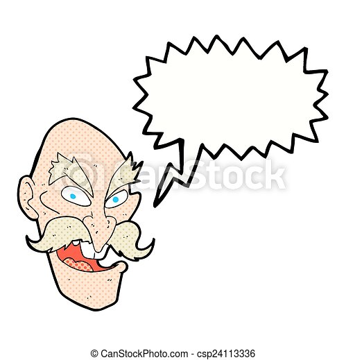 Old Man Cartoon Drawing Cartoon Evil Old Man Face With