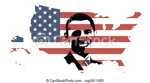 President Obama with USA map - csp2411450