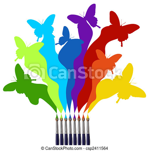 Paint brushes and colored butterflies rainbow - csp2411564