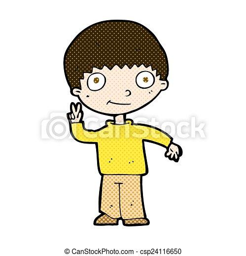 Peace Cartoon Drawings Comic Cartoon Boy Giving Peace