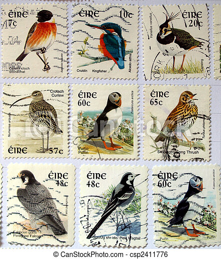 Range of Irish postage stamps with birds - csp2411776