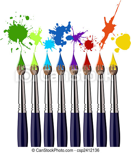 Paint brushes and color splash - csp2412136