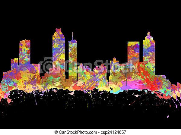 grúzia, művészet,  USA, vízfestmény, láthatár, nyomtat,  Atlanta - csp24124857
