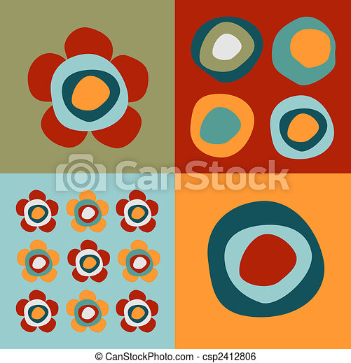 Flowers and circles pattern - csp2412806
