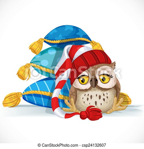 Cute owlet in a cap sits near a pile of pillows and wants to sleep - csp24132607