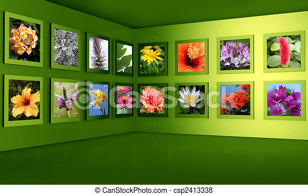Flower photography gallery exhibition hall concept - csp2413338