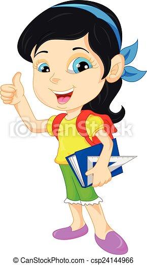 Clip Art Vector of cute school girl thumb up - illustration of ...