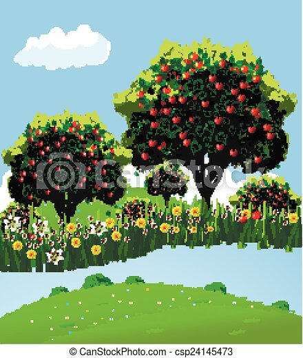 Vectors Illustration Of Landscape Apple Orchard Apple