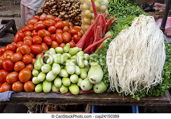 fresh vegetarian vegetable in asia market, India