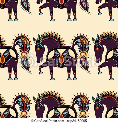 ethnic seamless pattern fabric with unusual tribal animal - csp24150905