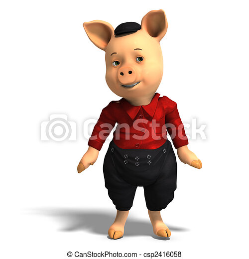 cute cartoon pig with clothes - csp2416058