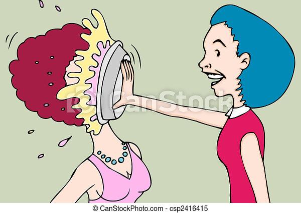 pie fight women - csp2416415