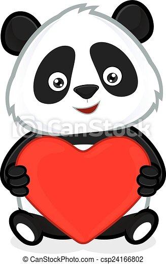 Clipart vecteur de coeur amour panda tenue clipart - Clipart amour ...