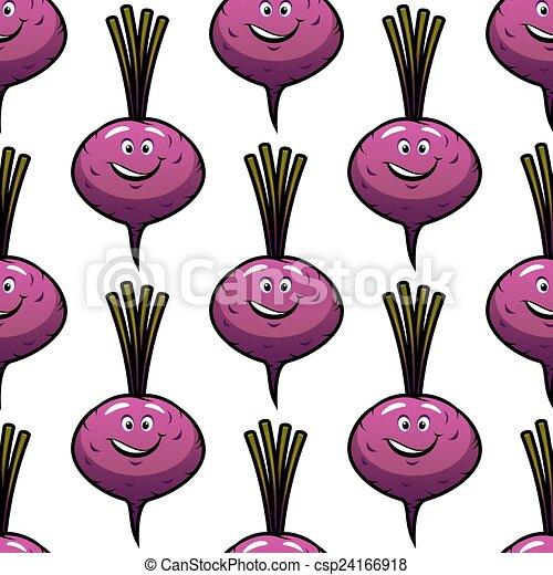 Seamless Smiling Cartoon Beet Background Vector