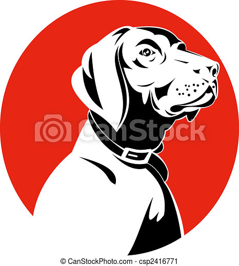 Clipart of Pointer dog head profile - Illustration of a pointer ...