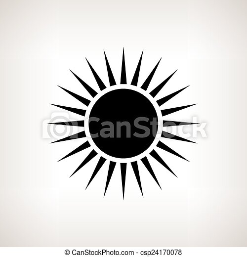 Vectors Illustration of Silhouette sun with rays on a light ...