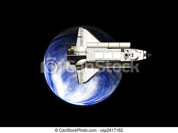 Space shuttle with earth - csp2417182
