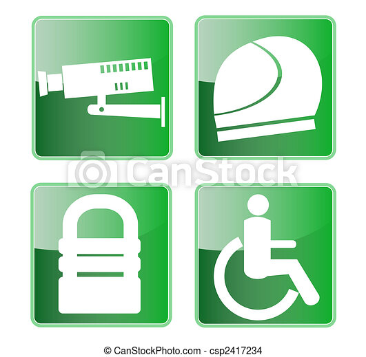 CCTV helmet padlock wheel chair access symbols - csp2417234