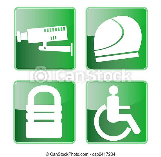 CCTV helmet padlock wheel chair access symbols - csp2417234