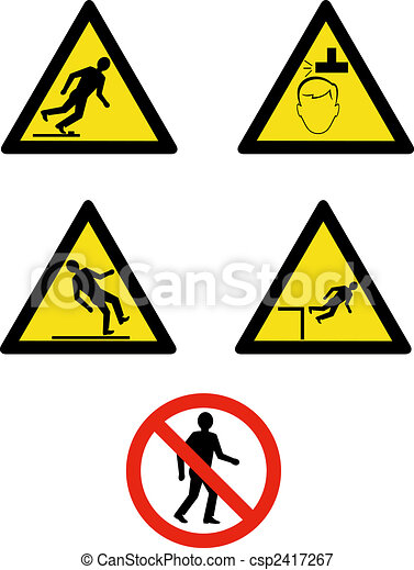 Industrial workplace signs and symbols showing site management and safety - csp2417267