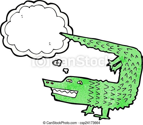 Clip art vecteur de dessin anim crocodile pens e bulle csp24173664 recherchez des images - Dessin anime crocodile ...