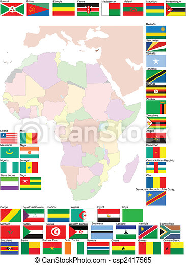 Flags and map of Africa. Vector illustration - csp2417565