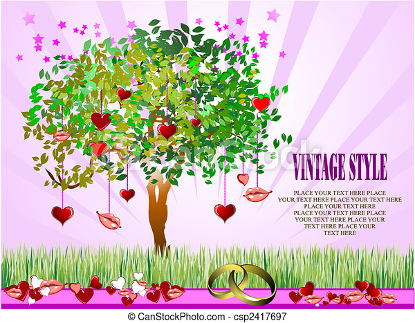 Decorative Valentine`s Day tree with hearts and lips - csp2417697