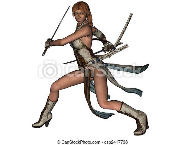 Fighting woman samurai with katana - csp2417738