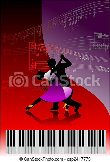 Piano with dancing couple and printing music  - csp2417773