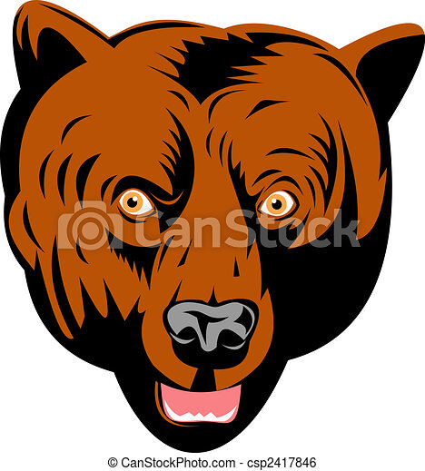 Grizzly bear head front view - Grizzly Bear Face Logo