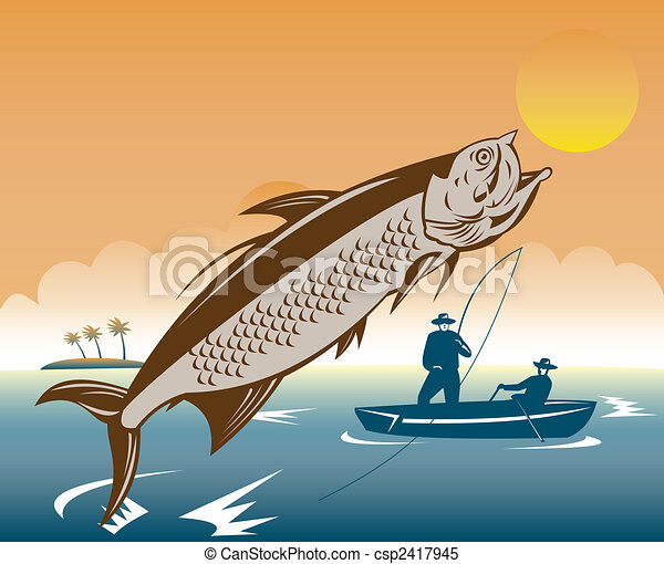 Stock Illustrations of Tarpon leaping with fishermen ...