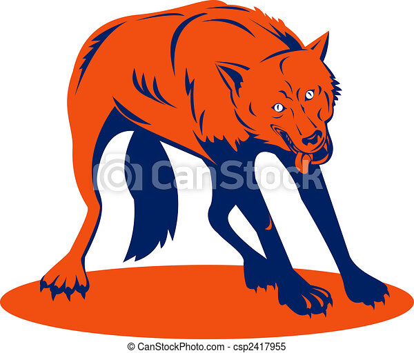 Orange Wolf Drawing Stock Illustrations of...