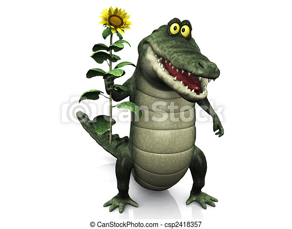 cocodrilo, caricatura, tenencia, girasol - csp2418357