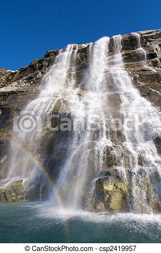 Waterfall and rainbow - csp2419957