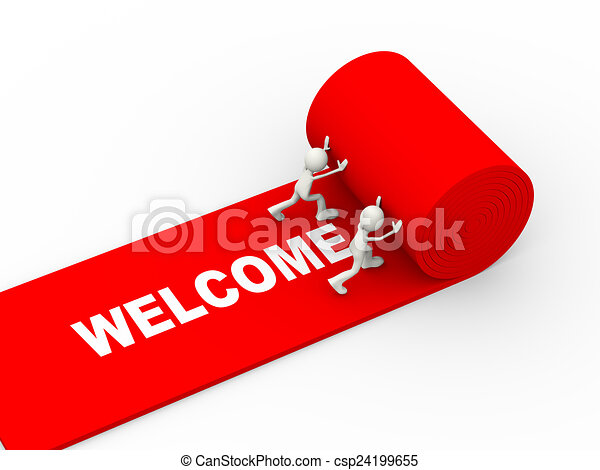 Stock Illustrations Of 3d People Rolling Red Welcome