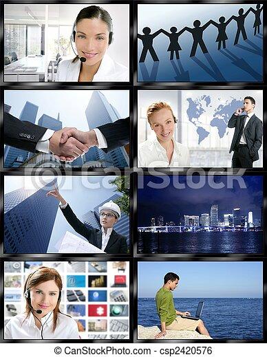Futuristic tv video news digital screen wall - csp2420576